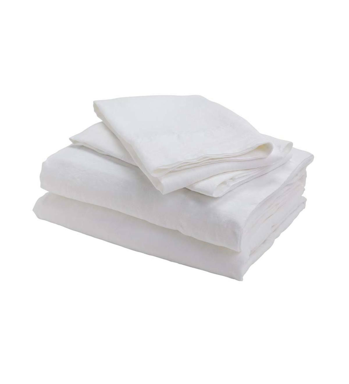 Bambeco 100% Natural European Flax Linen Sheet Set blanc Queen Made in Portugal