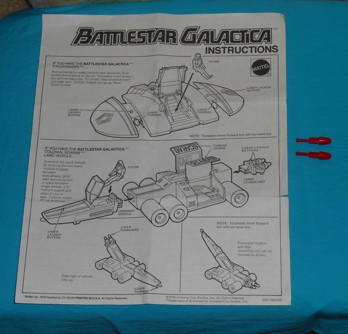 Vintage Battlestar Galactica COLONIAL VIPER CYLON RAIDER INSTRUCTIONS & & & MISSILES 4f26fa