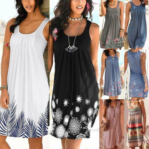 Damen  Ärmellos Träger Sommerkleid Strandkleid Partykleid Locker Urlaub Kleider