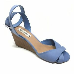 Women-039-s-Steve-Madden-Noleen-Strappy-Sandals-Shoes-Size-6M-Blue-Wedge-Strapped-Z6