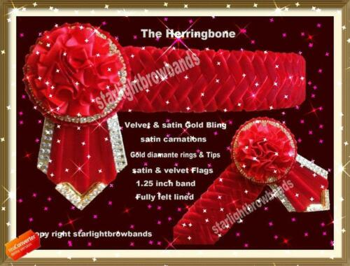 Bling Red, Herringbone With Gold Diamantes DESIGN BY STARLIGHTBROWBANDS