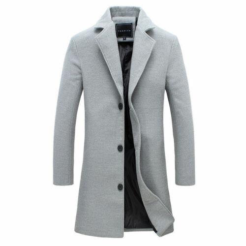 Men/'s British Casual Wool Outwear Long Overcoat Coat Jacket Trench Warm Winter