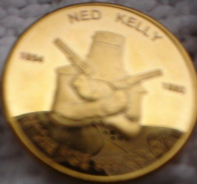4 x NED KELLY COINS 1/10 OZ 24 K HGE 999 GOLD SSB WWW.SSB MINT .COM SIZE 2 CM