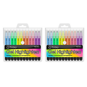 Thornton's Twist-Retractable Bible Gel Highlighters, Assorted Colors, Pack of 24
