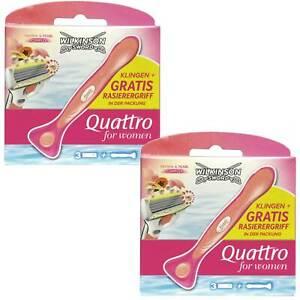 2x Wilkinson Razor Quattro For Women Papaya&Pearls ( 6-Klingen Incl. Griff )