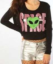 $138 JOYRICH NWT Space ALIEN Glitter Crop Top Rave Festival Party Shirt SOLD-OUT