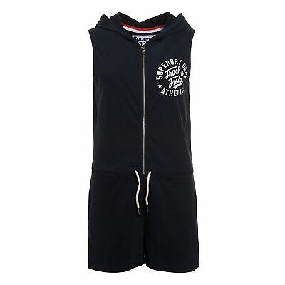 New Womens Superdry Factory Second Track And Field Hooded Playsuit Eclipse Nav