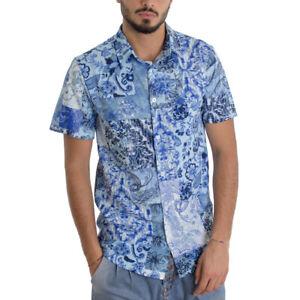 Camicia-Uomo-Manica-Corta-Colletto-Fantasia-Floreale-Azzurra-Casual-GIOSAL