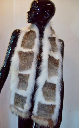 collo in pelliccia di VOLPE e lapin white rabbit /& fox fur scarf Fuchspelz stola