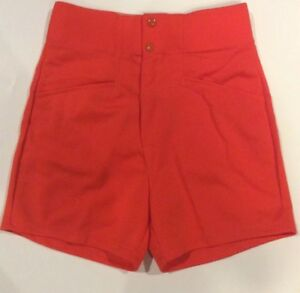 Vintage Orange 70s 80s Adult Small High Waist Gym Coaches Shorts ... 4308a02249b39