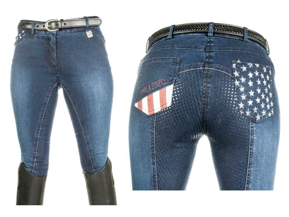HKM reithose Stars & Stripes Denim ribete de pleno de silicona todos tamaños Jeans