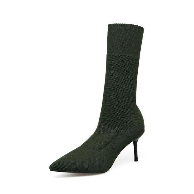 stivali stivaletti bassi scarpe stiletto 6.5 cm nero eleganti simil pelle 9427