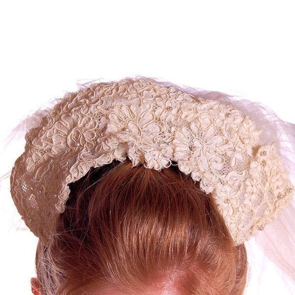 Vintage Wedding Veil Lace Headpiece 1950s 100 Inc… - image 6