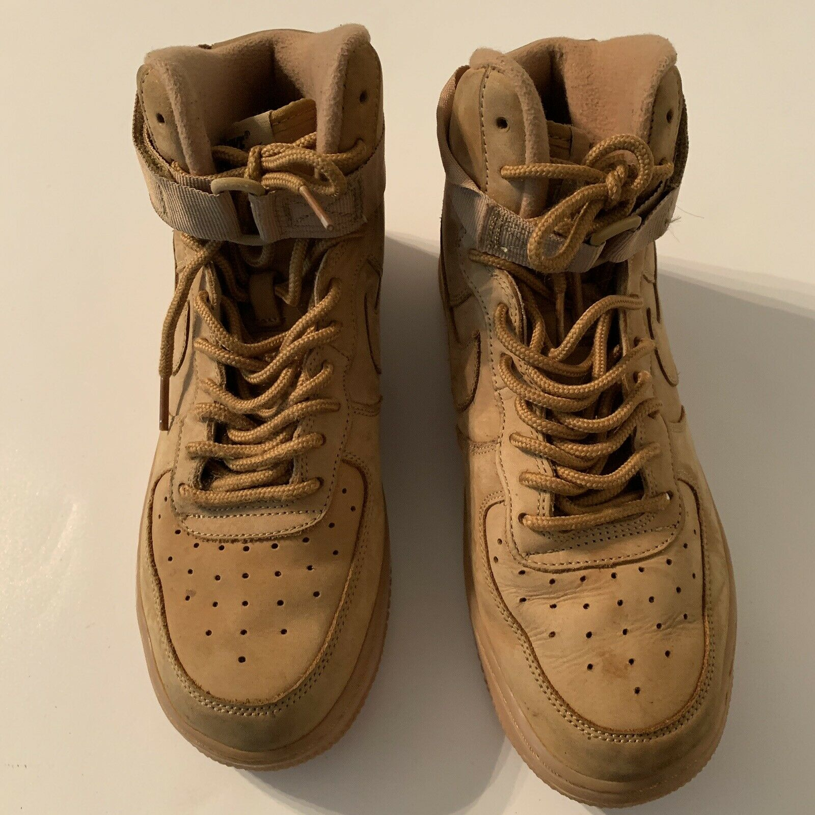 Youth Size 6.5Y Flax Wheat Nike Air Force 1 High LV8 Leather Shoes 807617 200