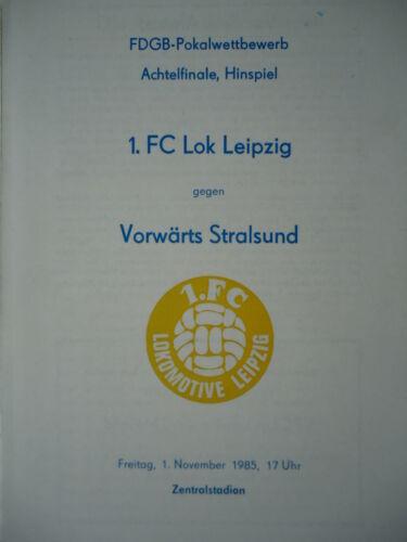 FC Lok Leipzig Vorwärts Stralsund Programm Pokal 1985//86 1