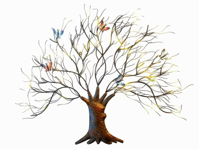 Beautiful Tree With Butterfly Metal Wall Art Sculpture Decor Fountasia