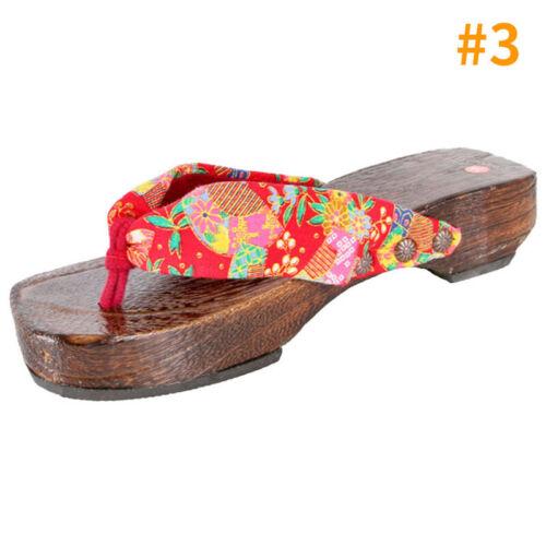 Women Geta Ladies Flower Pattern Bidentate Flops Cozy Wood Clog Cosplay Shoes