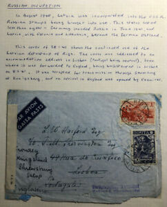 1941-Riga-Lettonie-Russie-URSS-censure-airmail-cover-to-Lisboa-Portugal