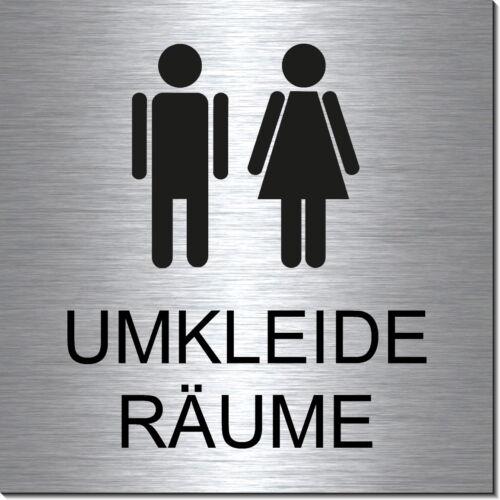 10 x 10 CM-Door Sign-Sign-Adhesive. Locker Room-Man-Woman-Aluminium Look Edelst