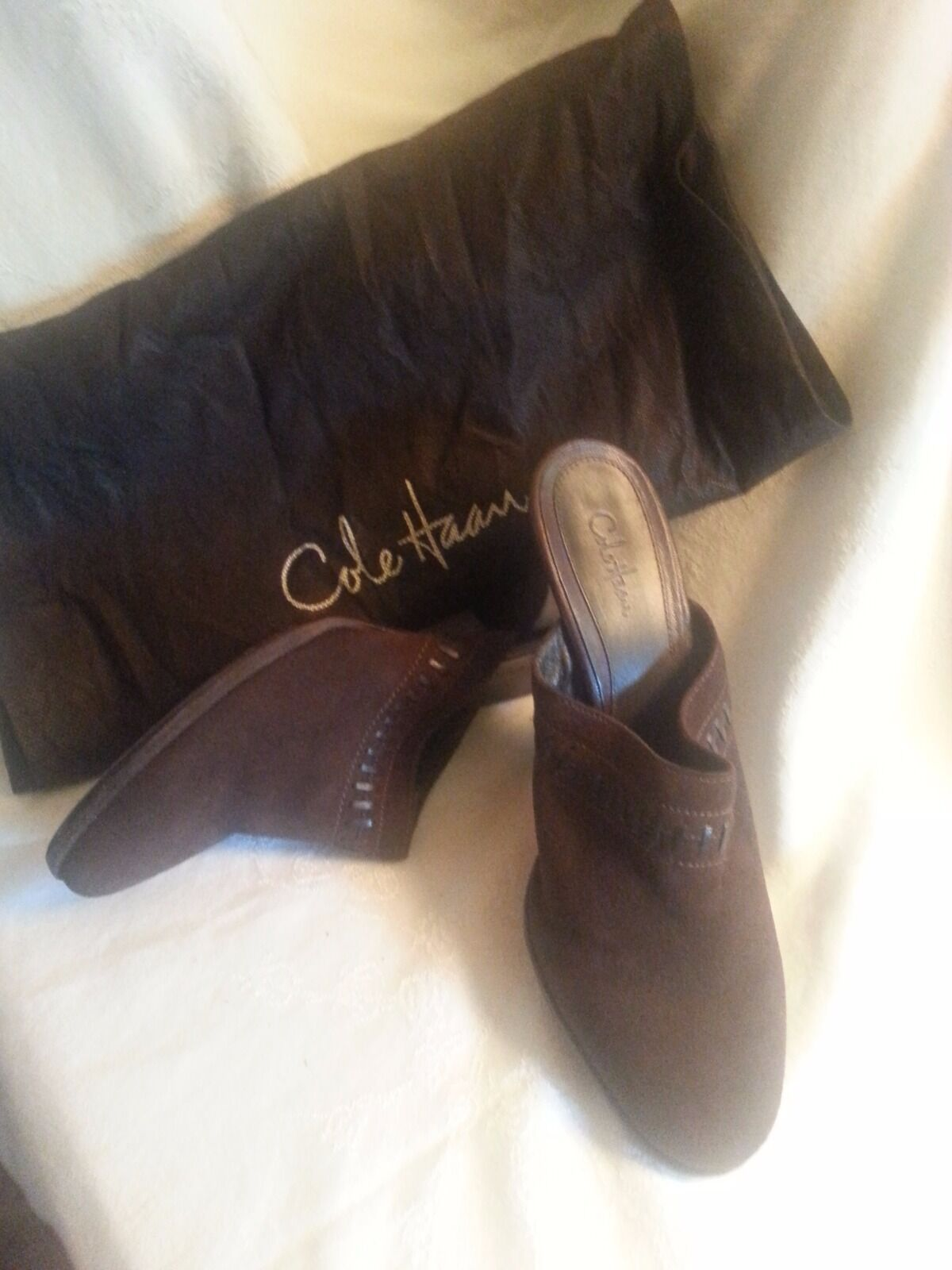COLE HAAN BROWN B, SUEDE MULES HEELS, SIZE US 8.5 B, BROWN w/ORIGINAL BAG 313361