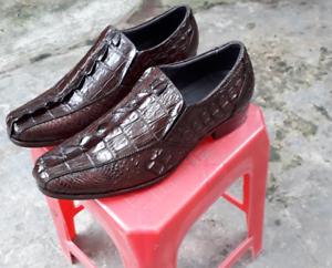 Men-039-s-Shoes-Genuine-Crocodile-Alligator-Skin-Leather-Handmade-Brown-VSKG01