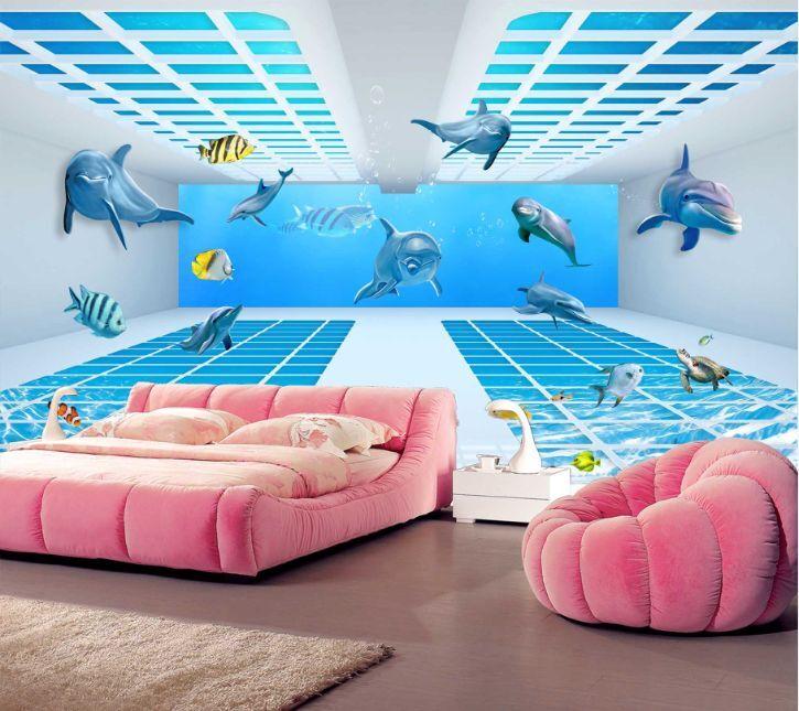 3D Dolphin Fish 2 Paper Wall Print Decal Wall Wall Murals AJ WALLPAPER GB