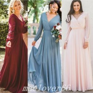 Details about Chiffon V Neck Long Sleeve Loose Full Length Bridesmaid Dress  For Wedding Guest