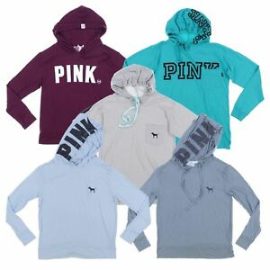 Victoria-039-s-Secret-Pink-T-Shirt-Hooded-Tee-Hoodie-Long-Sleeve-Graphic-Logo-Vs-New