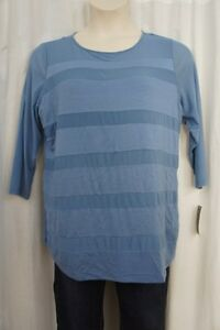 INC-International-Concepts-Top-Sz-3X-Dusty-Stone-Blue-Mesh-Rayon-Mix-Casual-Top