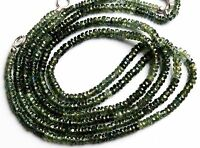 "Natural Gem Australian Green Sapphire 3-3.5MM Facet Rondelle Beads Necklace 17"""