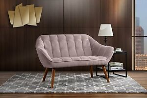 Details about Vintage Sofa Modern Tufted Fabric Loveseat Couch Mid Century  Wood Legs, Pink