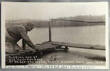 1935 Ak-SAR-BEN LODGE Vogt's Summer Home BASS Fish Postcard LONG LAKE MINNESOTA