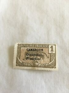 """1916 French Cameroons Cameroun """"Occupational Francaise"""" 1c Olive Brown Stamp New"""