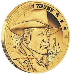 JOHN-WAYNE-1-4-oz-Gold-Coin-Proof-Tuvalu-2019-first-day-of-issue-Mintage-1000