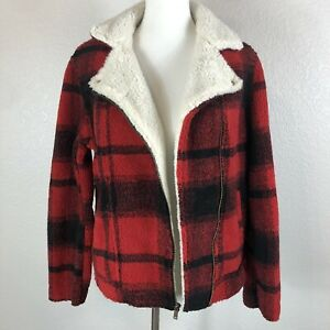 Women's Old Navy Red Black Buffalo Plaid Sherpa Moto ...