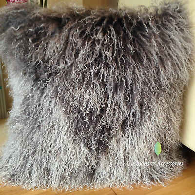 GREY WHITE MIXED 40 x 40CM GENUINE MONGOLIAN SHEEPSKIN LAMB WOOL FUR CUSHION PAD