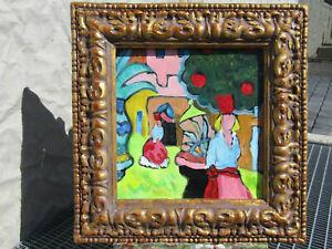 Original-Cubism-Oil-Painting-On-Canvas-Signed-amp-Framed-034-OLD-CASTLE-DANCE-034