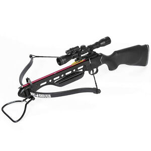 150 lb Black Hunting Crossbow Bow + 4x20 Scope +12 Arrows / Bolts 180 175 80 50