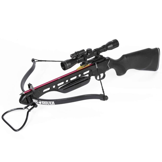 150 lb Black Hunting Crossbow Bow + 4x20 Scope + 7 Arrows / Bolts 180 175 80 50