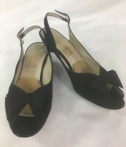c585ac389b046 Details about SALVATORE FERRAGAMO Vintage Black Bow Top Peep Toe Slingback  Heels Sz 10