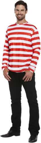 Mens Red//White Striped Jumper Wally Fancy Dress Costume One Size