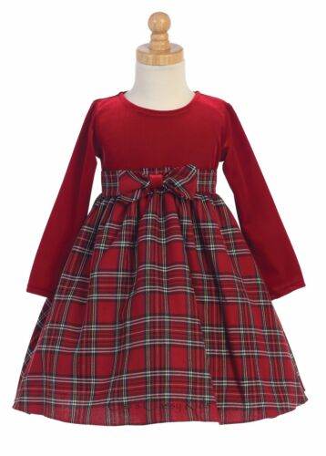 Baby Toddler Kids Flower Girls Red Velvet Plaid Dress Christmas Easter Party 503