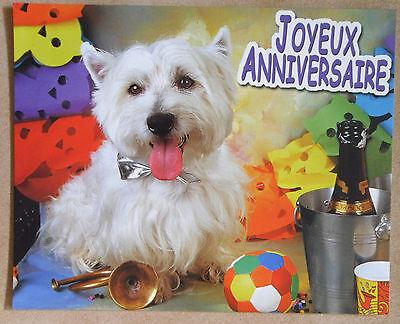 Chien Mini Poster Cartonné Tres Bon Etat Joyeux Anniversaire
