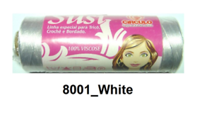 Circulo-SUSI-8001-WHITE-Crochet-Rayon-Thread-Knitting-comparable-to-Perle-8-size