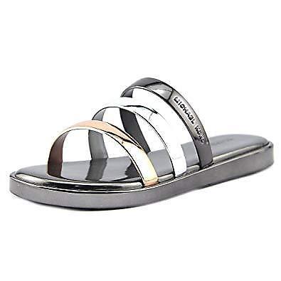 417ff9cfdae0e Michael Kors Keiko Slide Sandals Gunmetal Silver Size 8m Open Toe S17 for  sale online