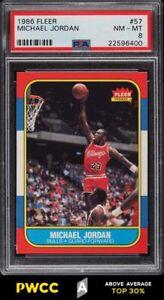 1986 Fleer Basketball Michael Jordan ROOKIE RC #57 PSA 8 NM-MT (PWCC-A)