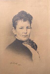 Niels-Wiwel-1855-1914-Zeichnung-Portraet-einer-Frau-1892
