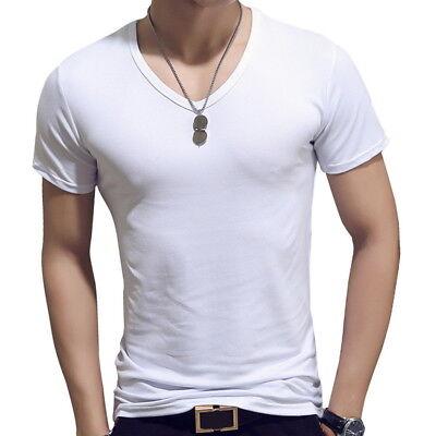 Hommes T-shirt à manches courtes Slim Fit Hauts solides Chemises de base Sport