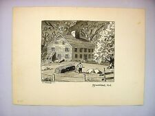 1930-40's C. Palmer Ink & Wash Drawing of a Farm House in Greenland, NH