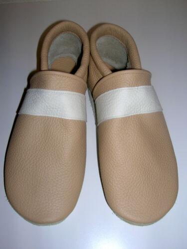Lederpuschen  Gr beige  Streifen creme Hausschuhe Echtleder No-name medium 40